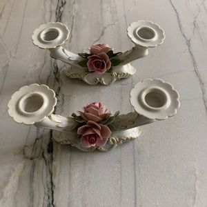CAPODIMONTE Italian Floral Candle Holders